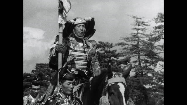 samurai men on horseback in jidai matsuri parade in kyoto; 1964 - samurai stock videos & royalty-free footage