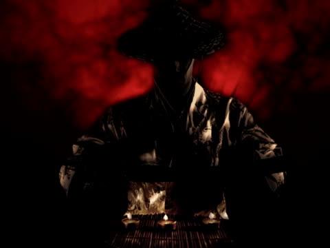 samurai entfernen ein schwert - krieger menschliche tätigkeit stock-videos und b-roll-filmmaterial