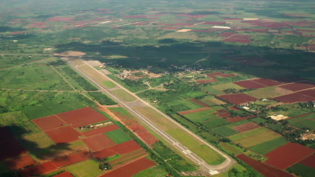 san antonio de los banos airfield aerial view, havana province, cuba - campo d'aviazione video stock e b–roll