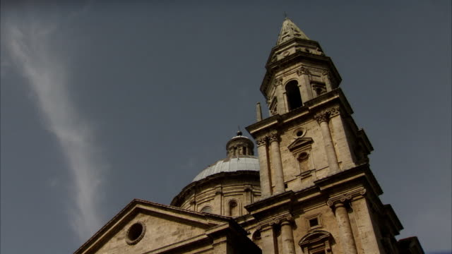 san biagio church in montepulciano, italy, features a bell tower and dome. available in hd. - montepulciano stock videos & royalty-free footage