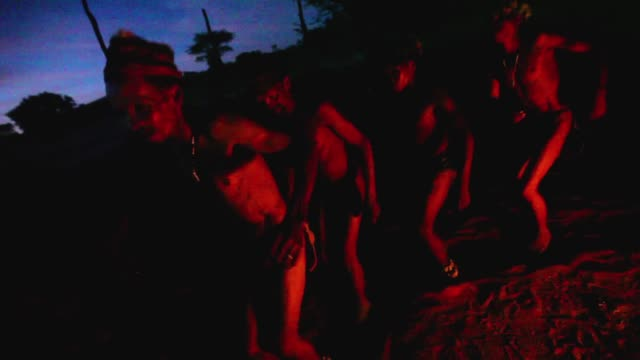 San Bushmen from the Khomani San community dance around a fire in the Southern Kalahari desert on October 16 2009 in the Kalahari South Africa One of...