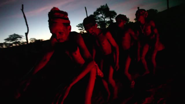 san bushmen from the khomani san community perform traditional dances around a fire in the southern kalahari desert on october 15, 2009 in the... - nature reserve stock videos & royalty-free footage