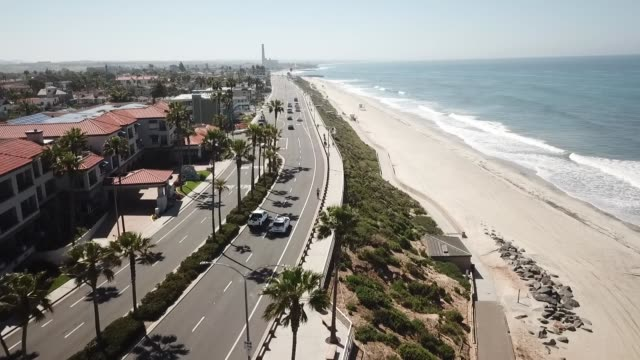 san diego aerial coverage of empty beach during covid. - san diego stock videos & royalty-free footage