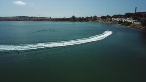 san diego, ca, u.s., - aerial view of carlsbad lagoon on monday, aug 19, 2019. - carlsbad california stock videos & royalty-free footage