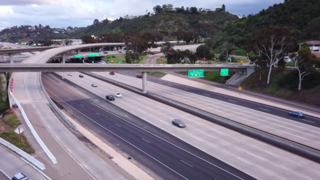 kswb san diego ca us aerial view of empty freeways in san diego during coronavirus pandemic on monday march 30 2020 - major road stock videos & royalty-free footage