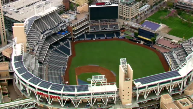 san diego, ca, u.s. - aerial view of empty petco park during covid-19 pandemic. this is a baseball park located in the downtown area and that is home... - baseball sport stock videos & royalty-free footage