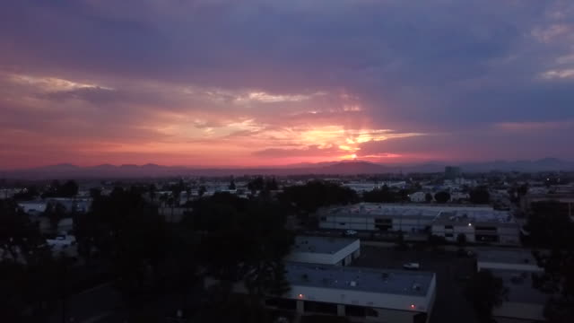 san diego, ca, u.s. drone aerial view of kearny mesa at sunrise on monday, august 17, 2020. - roof stock videos & royalty-free footage