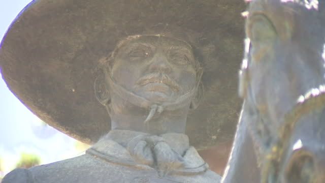 kswb san diego ca us equestrian bronze statue of a mexican vaquero in presidio park on thursday july 16 2020 to celebrate the 200th anniversary of... - 18th century stock videos & royalty-free footage