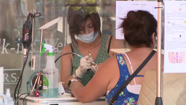 kswb san diego ca us outdoor nail salon amid coronavirus pandemic on wednesday july 22 2020 california reopens outdoor nail salons amid coronavirus... - self improvement stock videos & royalty-free footage