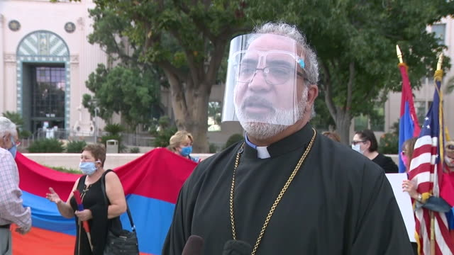 san diego, ca, u.s. - priest talking to media during san diego's armenian community peaceful gathering amid ongoing azerbaijan conflict, on monday,... - eastern european culture stock videos & royalty-free footage