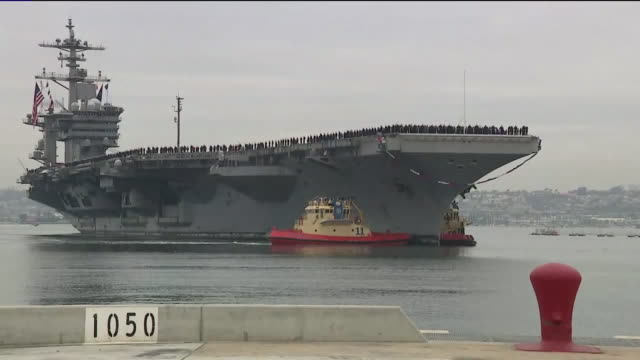 vidéos et rushes de kswb san diego ca us uss abraham lincoln with carrier strike group returning to san diego at naval air station north island on monday january 20 2020... - marine américaine