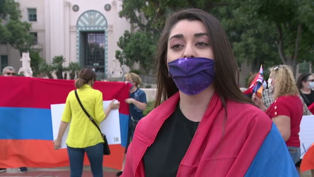 san diego, ca, u.s. - woman talking to media during san diego's armenian community peaceful gathering amid ongoing azerbaijan conflict, on monday,... - eastern european culture stock videos & royalty-free footage