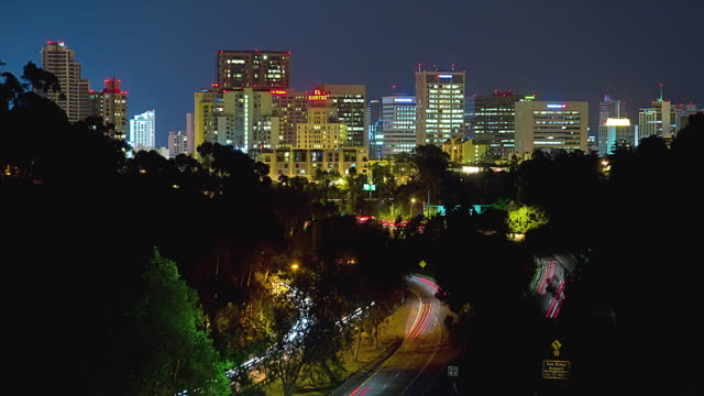 t/l ws ha san diego downtown skyline at night / california, usa - san diego stock videos & royalty-free footage