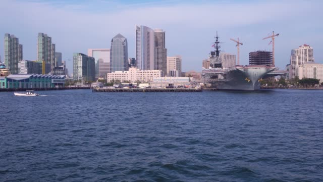 san diego skyline view from ferry boat - passenger ship stock videos & royalty-free footage