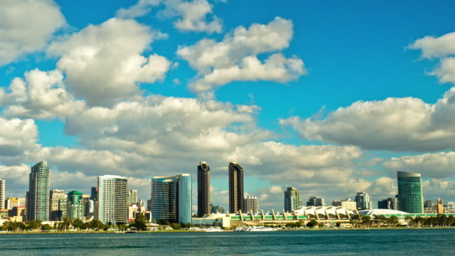 WS T/L San Diego waterfront high-rise buildings and convention center with dramatic rain clouds moving across blue sky  / San Diego, California, USA