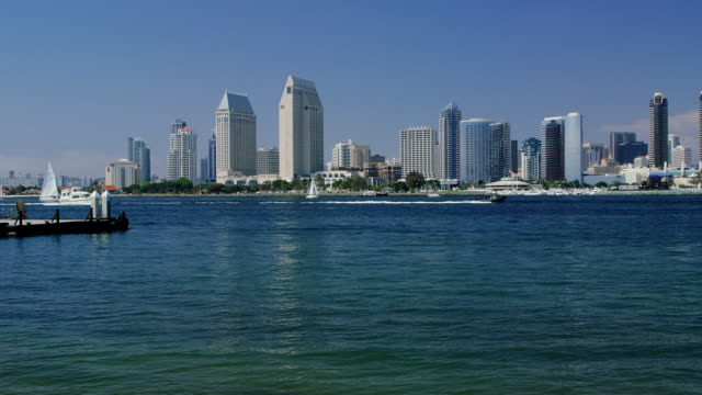 san diego waterfront with boat traffic - hyatt stock videos & royalty-free footage