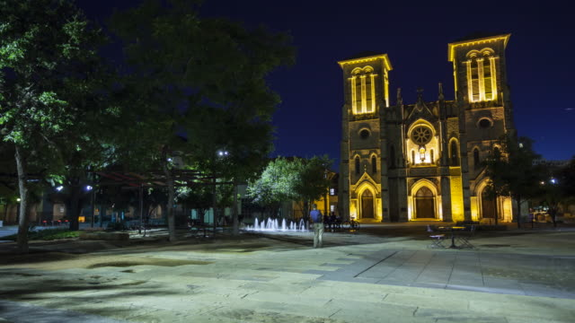 san fernando cathedral in san antonio, texas at night - time lapse - san antonio texas stock videos and b-roll footage