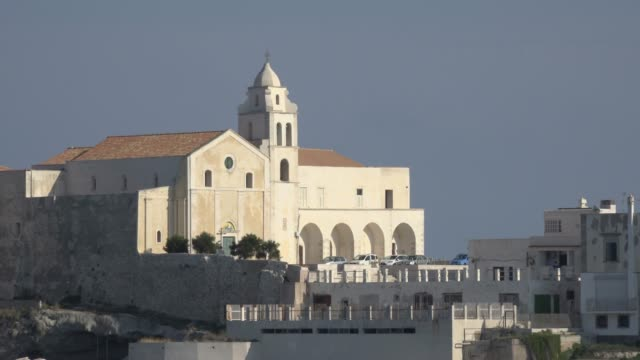 san francesco church over the adriatic sea in vieste - adriatic sea stock videos & royalty-free footage