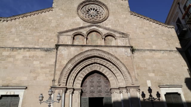 san francesco d'assisi church, view of the faã§ade with the gothic rose window, palermo, sicily - rose window stock videos and b-roll footage