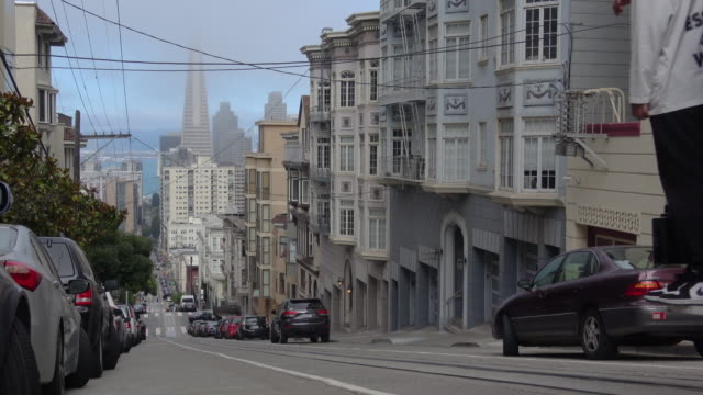 san francisco architecture and cable car. - tram stock videos & royalty-free footage