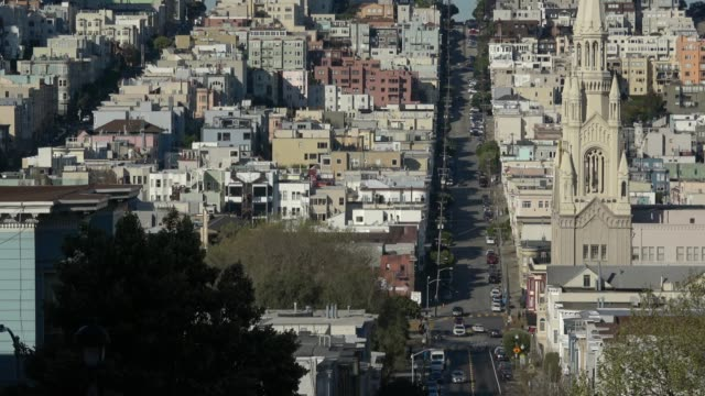 san francisco architecture on russian hill with church - fisherman's wharf san francisco stock videos & royalty-free footage