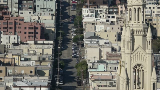 san francisco architecture on russian hill with church - north beach san francisco stock videos & royalty-free footage