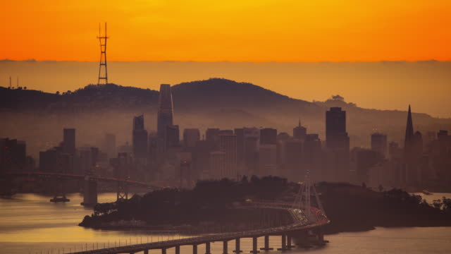 san francisco bay, ca: view from oakland - california street san francisco stock videos & royalty-free footage