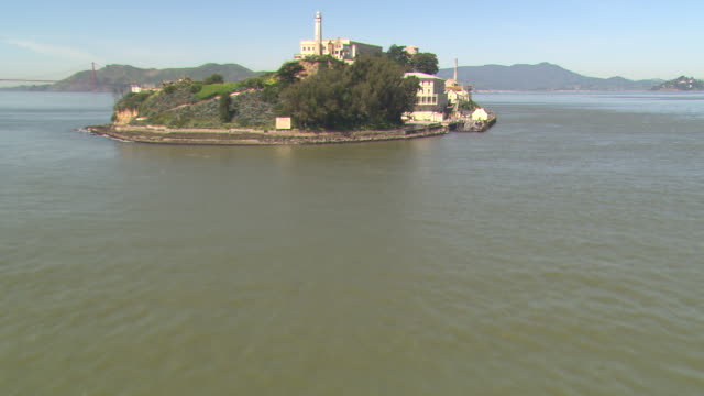San Francisco Bay surrounds Alcatraz Island.