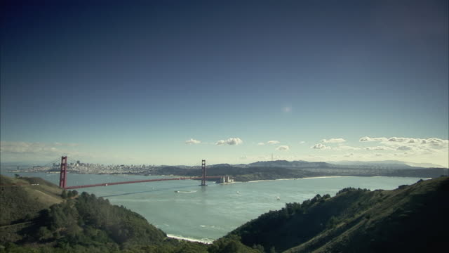 ws, san francisco bay with golden gate bridge, california, usa - san francisco bay stock videos and b-roll footage