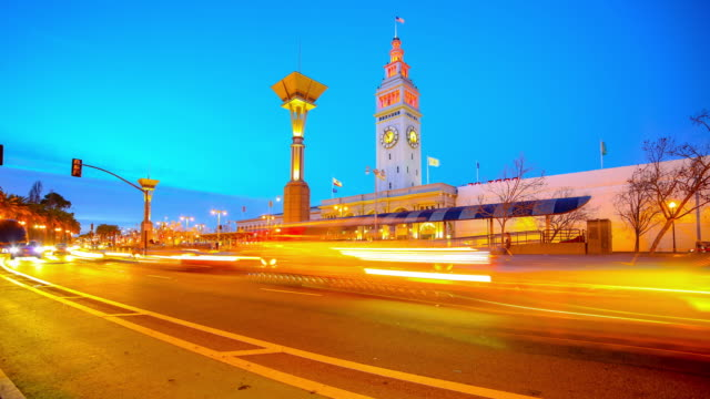san francisco, ca: ferry building rush hour traffic - bay of water stock videos & royalty-free footage