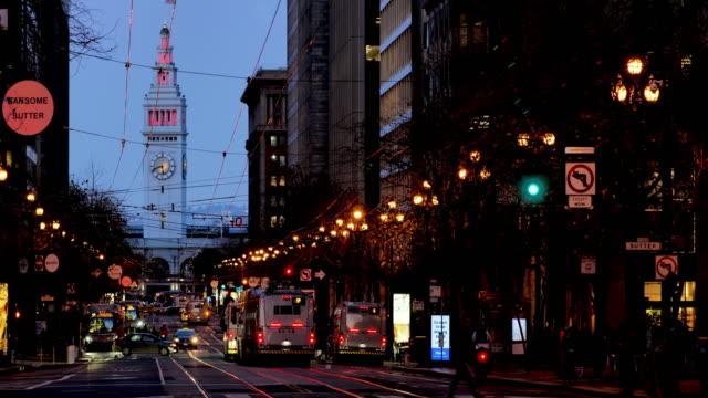 カリフォルニア州サンフランシスコ:マーケットストリート - フェリーターミナル点の映像素材/bロール