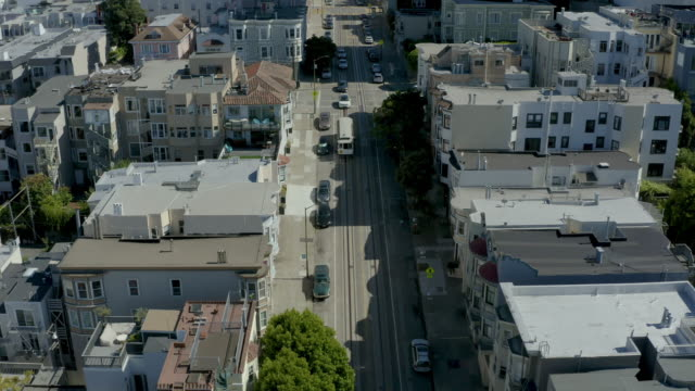 san francisco cable car aerial view 1 - coit tower stock videos & royalty-free footage