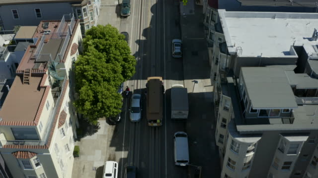 san francisco cable car aerial view 2 - coit tower stock videos & royalty-free footage