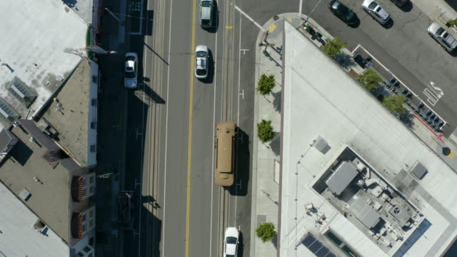 san francisco cable car aerial view 4 - coit tower stock videos & royalty-free footage