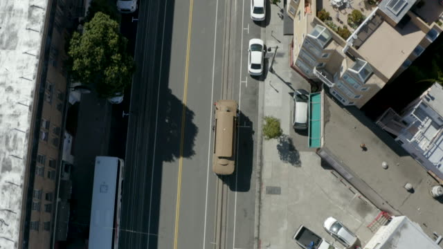 san francisco cable car aerial view 5 - coit tower stock videos & royalty-free footage
