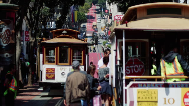 san francisco cable car system - san francisco california video stock e b–roll