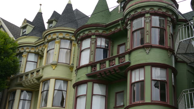 San Francisco California sections of old Victorian homes with windows and color in Baker Street area