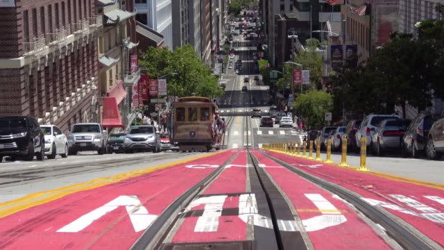 san francisco california street and downtown - california street san francisco stock videos & royalty-free footage
