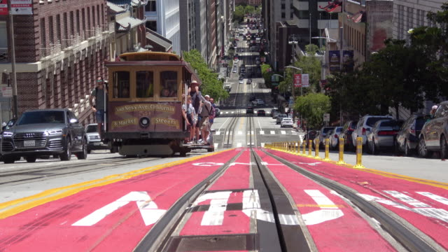 san francisco california street and downtown - cable car stock videos & royalty-free footage