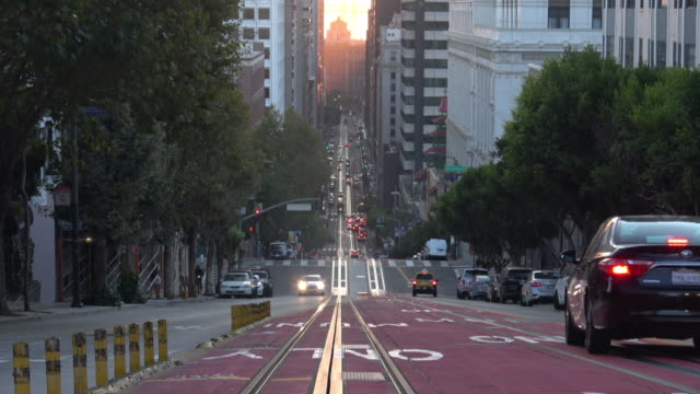 san francisco california street in morning light - nob hill stock videos & royalty-free footage