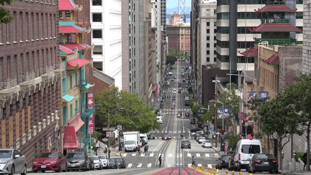 サンフランシスコカリフォルニアストリートトラフィック - カリフォルニアストリート点の映像素材/bロール