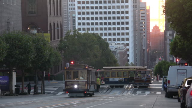 san francisco california street with cable cars in morning light - nob hill stock videos & royalty-free footage