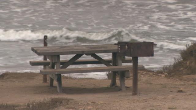 san francisco, californiapicnic table at the edge of shoreline - picnic table stock videos & royalty-free footage