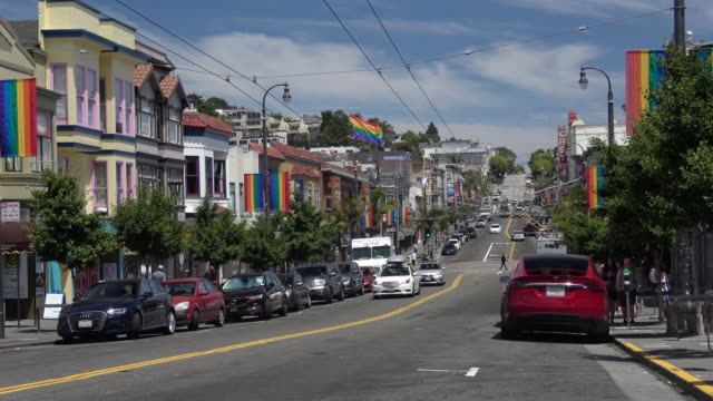 san francisco castro district city life - california street san francisco stock videos & royalty-free footage