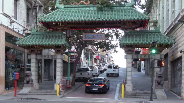 san francisco chinatown entrance - chinatown stock videos & royalty-free footage