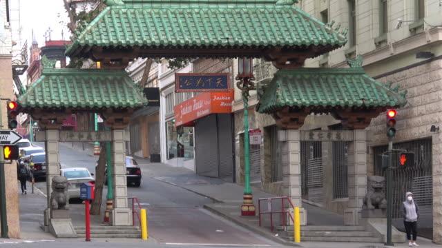 san francisco chinatown gate and city street - california street san francisco stock videos & royalty-free footage