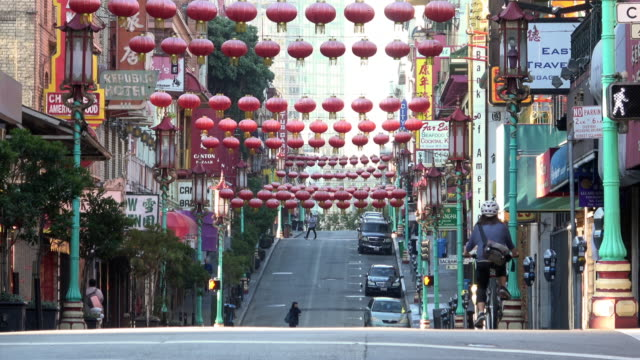 san francisco chinatown in morning light - california street san francisco stock videos & royalty-free footage