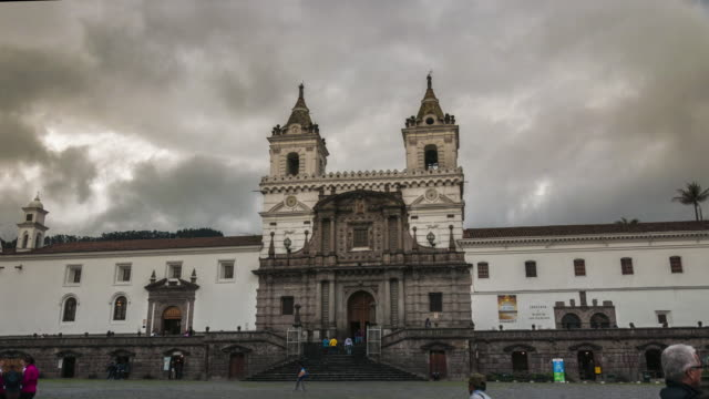 san francisco church in quito ecuador hyperlapse - ecuador stock videos & royalty-free footage
