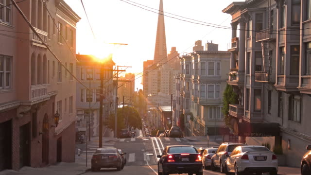 san francisco city street in morning light - nob hill stock videos & royalty-free footage