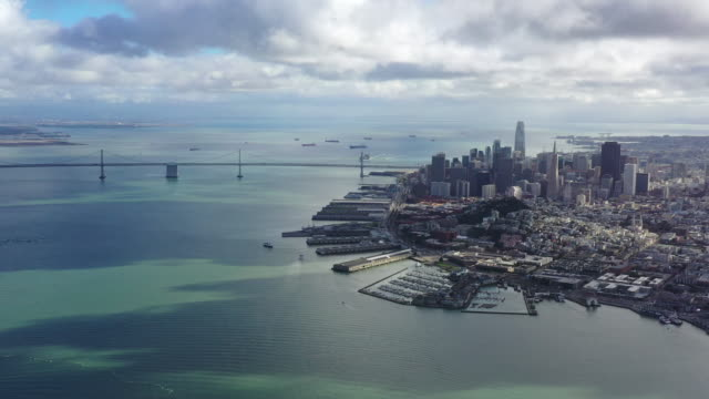 san francisco cityscape / california, usa - suspension bridge stock videos & royalty-free footage